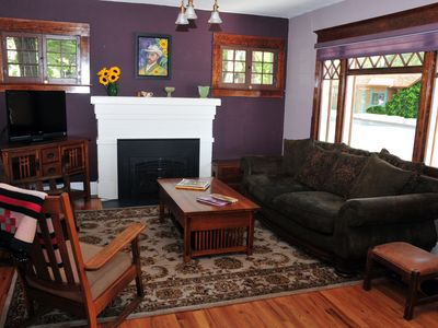 Cozy Living Room with Flat Screen TV & Gas Fireplace