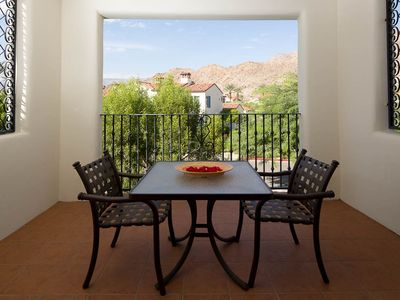Our private King Suite balcony looks out to the mountains.