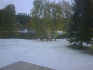 Bigfork cabin photo - First Snow - Oct 2009 - view from Living Room