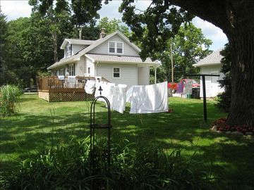 South Bend farmhouse rental - Laundry on the line.... Got a love the freshness of that!