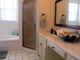 Gulf Shores house photo - Feeling Beachy sunny master bath w shower, garden tub, double vanity