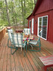 Harpers Ferry cabin photo - expansive deck with table for 4, picnic table, charcoal grill