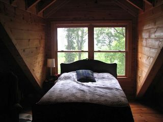 Cherry Log cabin photo - Great antique full size bed and futon in the upstairs bedroom loft suite.