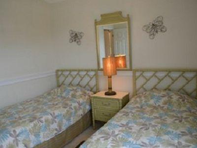 Two twin beds in one of the guest rooms.