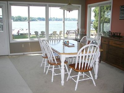 Dining area looks out to water (right front)