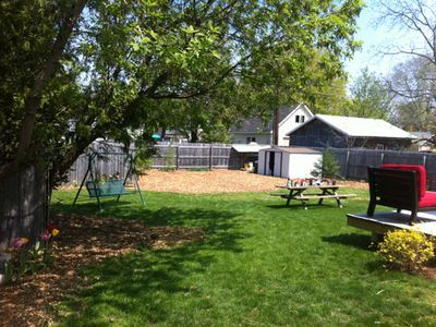 Huge backyard is completely fenced in. Lots of room to play and relax.