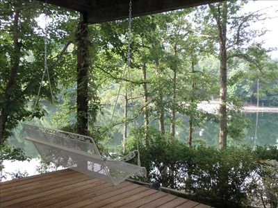 Lower Deck has Wonderful Lake View, Porch Swing and also 4 Chairs