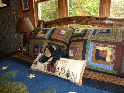 Country Quilt, Aspen Bed and Bear To Greet You!