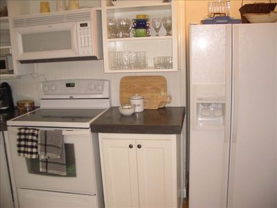 Great appliance including ice maker, cappucino machine and dishwasher.