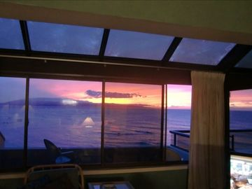 Beautiful sunsets from the living room.