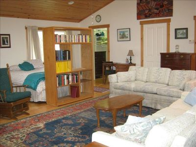 Great room with Queen bed, 3/4 bath, queen sleeper,TV, Fireplace & sofa