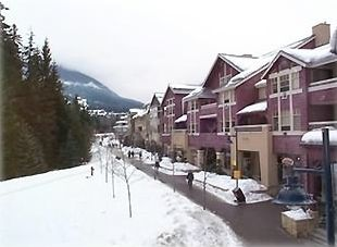The view from our balcony includes the villiage and Whistler Mtn