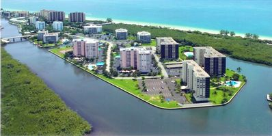 Aerial view of Bldg. Condo is in Bldg second closest to bridge nearest Gulf