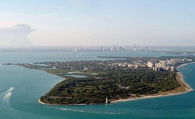 Our island from above,downtown Miami in backgrond
