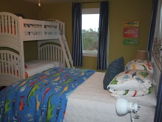 Truro house photo - A first floor bedroom with 1 double bed, and a set of twin bunk beds