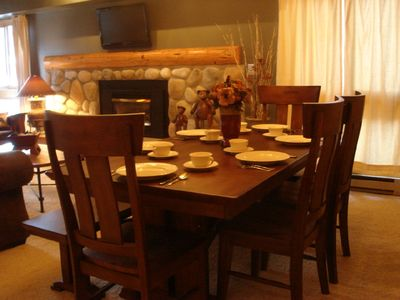 Enjoy dinner by the Fireplace - seating for 6+