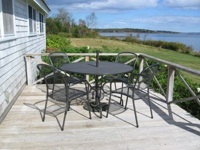 Outdoor dining table on the deck (photo taken in late September)