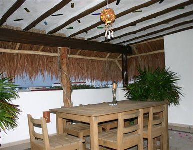 Private Roof top Palapa for afternoon shade and evening dinners.