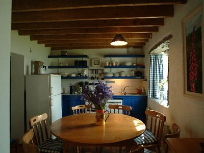 Caherdaniel cottage rental - West End kitchen/dining area