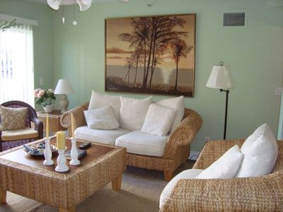 Indian Rocks Beach condo rental - Living Room, Just Off Patio, TV, Remote, Stereo, DVD Player & Plenty of Seating