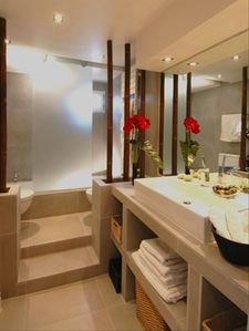 Breathtaking bathroom designed with a spa atmosphere