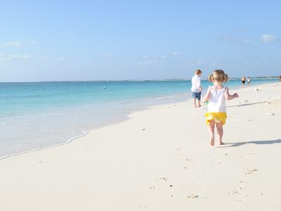 Grand Cayman condo rental - Our niece and nephew playing on the beach in front of the Resort