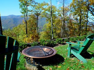 Maggie Valley house photo - Fire pit off downstairs deck