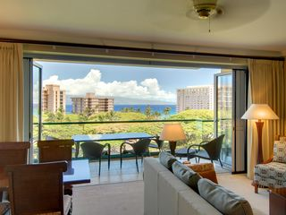 Lahaina condo photo - Living room lanai ocean view