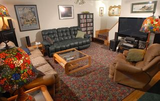 Acadia National Park cottage photo - Living room and entertainment center with seating for up to eight