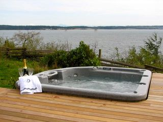 Port Ludlow house photo - Hot tub with view of Hood Canal and mountains