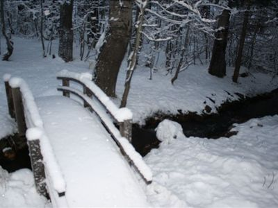 Creek and bridge in the winter