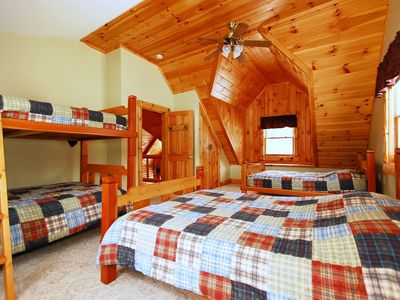 Bear Crossing Bedroom with four double size beds