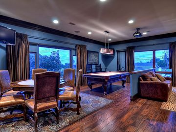Amazing upstairs game room with card table, convertible queen couch and ...