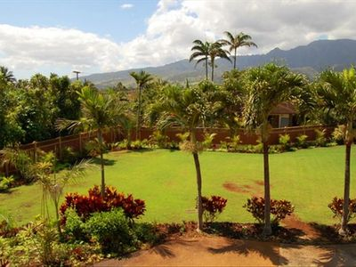 Lush and Private Front Yard with Mountain Views.