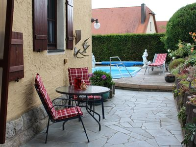 Romantic old forest house with summer pool near Rothenburg ob der Tauber