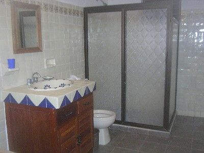 Main overly-large bathroom.  All tile.  Shower only.