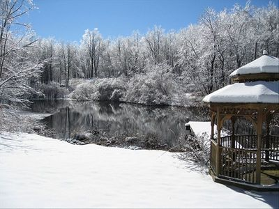 The pond and gazebo on property after an ice/snow storm