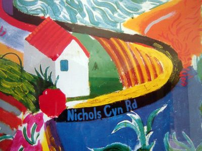Detail of Hockney's painting
