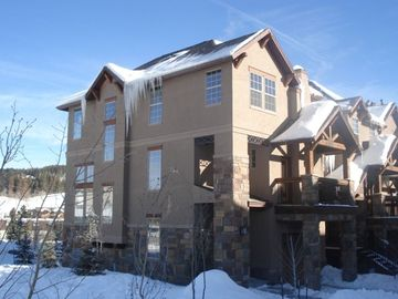 Winter Park townhome rental - Exterior view of our end unit in Winter - closest to ski shuttle stop and shops!