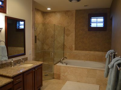 Master Bathroom View of Walk-In Shower and Jacuzzi Bath Tub