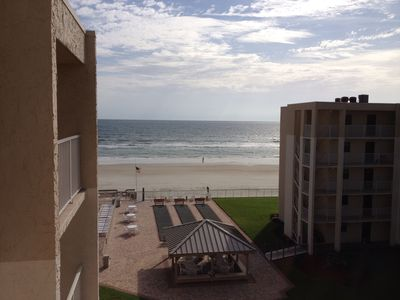 Beach view from top floor of complex