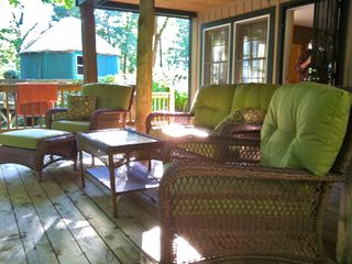 Swannanoa cabin photo - downstairs deck with furniture