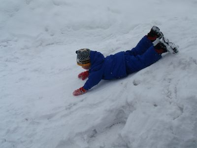 Who needs a sled. (Sledding hill near condo)