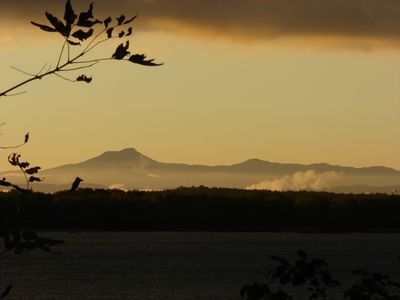 view of Vermont's iconic 'Camels Hump' at sunrise from front porch