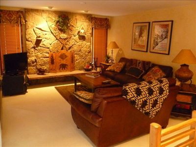 large wood burning fireplace with lots of room for gathering apres ski