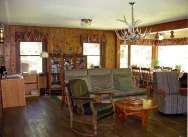 The cabin has a rustic feel with all the comforts of home.