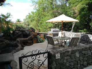 Kihei cottage photo - View of patio including seating for 5, barbacue