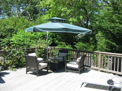 Huge, private deck #1 w/seating area+ lounges+ dining table/grill
