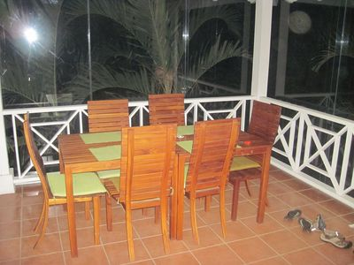 Nosara house rental - Glassed in porch for dining or a great nap with AC