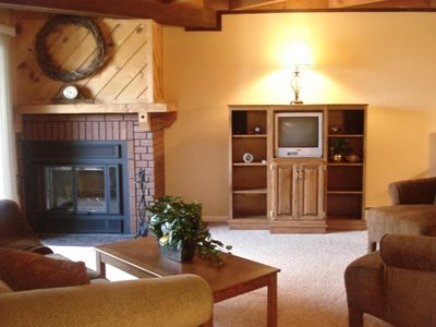 Living Room with Wood bunring fireplace